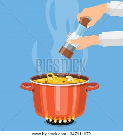 Chef Cook With Salt Mill And Boiling Pot. Pan On The Fire, A Pot Of Soup, Cooking Soup. Vector Illus
