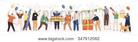 Set Of Happy Cartoon People Having Fun At Birthday Party Vector Flat Illustration. Concept Of Friend
