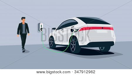 Electric Car Charging In Underground Garage Home Plugged Charger Station. Vector Illustration Batter