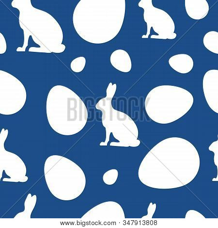 Happy easter vector seamless pattern holiday. Eggs classic blue holiday. Happy easter bunny holiday, easter background holiday, banners holiday, easter classic blue pattern. Vector illustaration