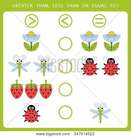 Educational math game for kids. Choose greater than, less than or equal to. Vector illustration