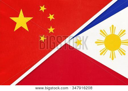 People's Republic Of China Or Prc Vs Philippines National Flag From Textile. Relationship Between Tw