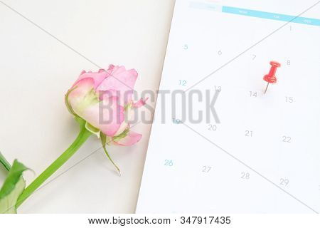 Close Up Red Pin On Calendar Marking On Valentine's Day.
