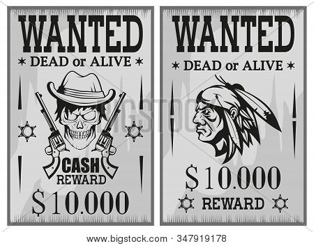 Wanted Poster. Wanted, Dead Or Alive. Vintage Western Poster. Vintage Paper. Bandit Wanted For Rewar