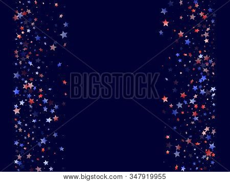 American Patriot Day Stars Background. Holiday Confetti In Usa Flag Colors For Patriot Day. Gradient