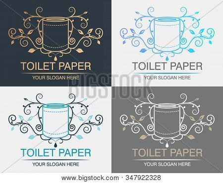 Vector Logo Roll Of Toilet Paper  With Creative Ornament For Wc Or Restroom. Can Be Used Like Logo F