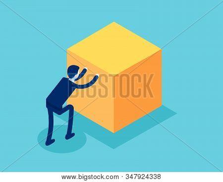 Isometric Businessman Push Cube Box. Concept Business Working Isometric Vector Illustration, Shove,