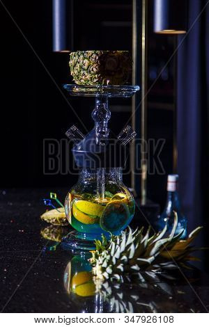 Manufacturing Of Hookah In The Pineapple. The Cut Pineapple Lies In The Bowl Of The Hookah. Round Ho