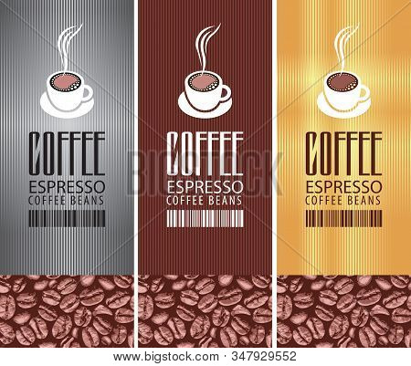 Coffee Labels With A Cup Of Hot Coffee, Barcode And Coffee Beans On The Striped Background. Set Of T