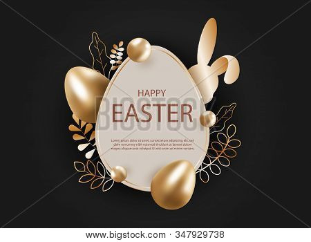 3d easter background holiday. 3d realistic goldr eggs, bunny holiday. Christ is risen. Vector holiday illustration of gold easter eggs for easter. Christian symbols of religion. Happy Easter holiday, bunny holiday, background holiday. Copy space text area