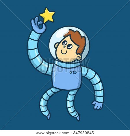 Cartoon Boy Astronaut In Spacesuit Floating In Space, Funny Character. Flat Vector Illustration.