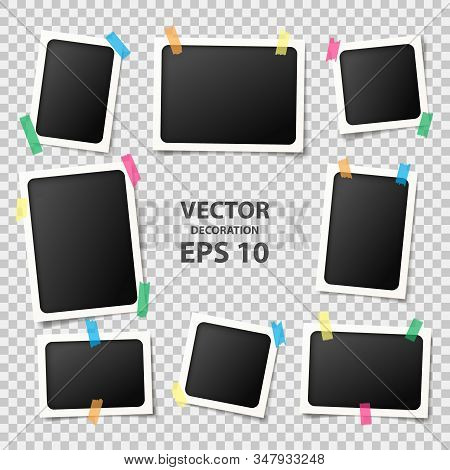 Set Of Realistic Photo Frames. Vector Illustration With Blank Photo Frames With Adhesive Tapes. Phot