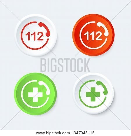 112 And Aid Button Set. Vector Round Icon.