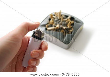 Ashtray Full Of Cigarette Butts, Lighter In Hand, Isolated On White Background, Stop Smoking, Bad Ha