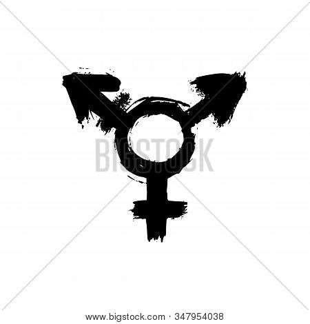 Transgender Symbol. Vector Grunge Signs Lgbt. Hand Draw Icons Isolated On White Background