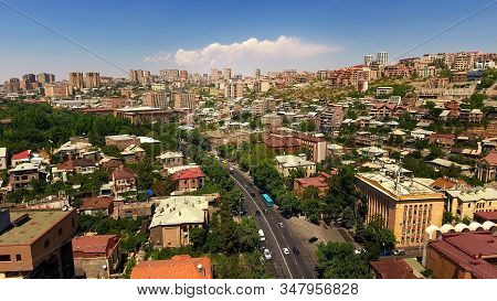 Hectic Life In Yerevan Town In Armenia, Beautiful Aerial View Of Buildings