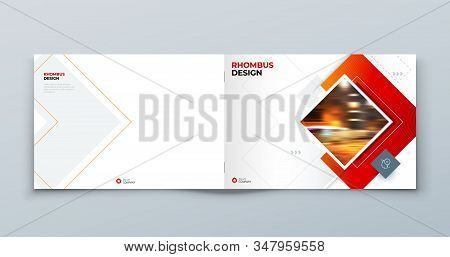 Landscape Brochure Cover Background Design. Corporate Template Layout For Business Annual Report, Ca
