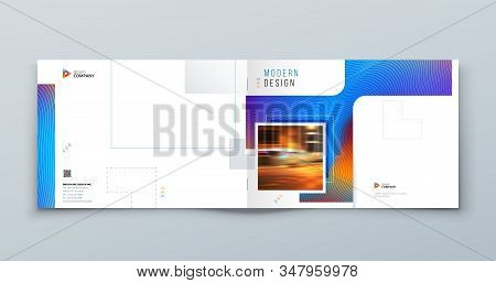 Blue Landscape Brochure Cover. Modern Concept With Square Rhombus Shapes. Vector Background. Set - G
