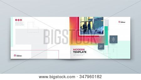 Horizontal Brochure Cover Background. Corporate Template Layout For Business Annual Report, Catalog,