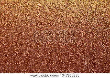 Golden Shiny Background, Yellow Sparkles, Brown Grainy Texture. Material Pattern, Metallic Tinsel, D