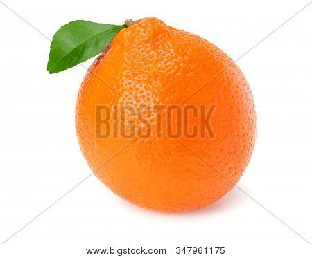Orange Clementine Or Minneola Tangelo With Green Leaves Isolated On White Background. Tangerine. Cit