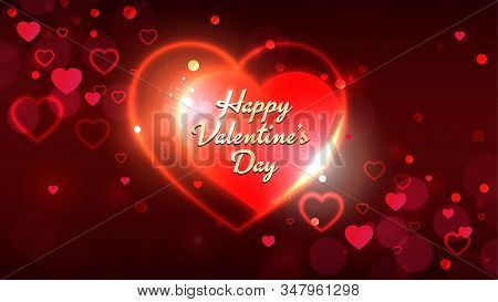 Valentines Day Greeting Cards, Bright Shiny Red Gold Heart Shape On Dark Red Bokeh Background. Happy