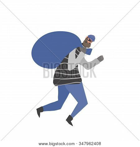 Thief With Bag Running Away. Robbery Concept. Man Dressed In Striped Shirt, Hat And Mask Sneaking Wi