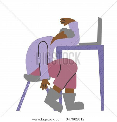 Male Person Sitting At The Table And Sleeping. Exhausted Character Getting Wink Of Sleep . Flat Vect