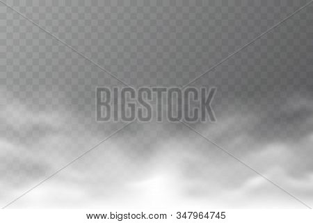 Vector Smoke Cloud Isolated On Transparent Background. Realistic Dense Fog. Abstract Steam Effect Fo