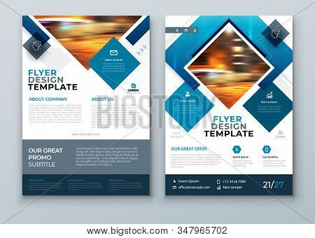 Blue Flyer Design. Cover Background Design. Corporate Template For Business Annual Report, Catalog,