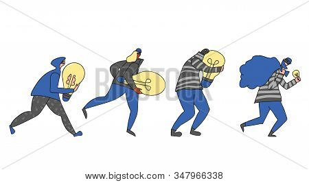 Set Of Persons Stealing An Idea Metaphor. Collection Of Different Pirates Isolated On White Backgrou