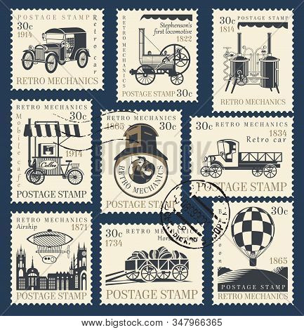 Vector Set Of Postage Stamps On The Theme Of Retro Mechanics With Retro Cars, Locomotives, Airship,