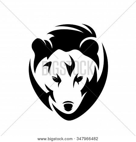 Grizzly Or Brown Bear En Face Head - Black And White Vector Portrait Of Wild Animal