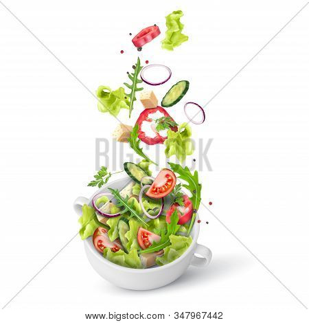Fresh Summer Salad Of Greens And Vegetables Sprinkled In A Deep Plate. Flying Salad Recipe. Vector 3