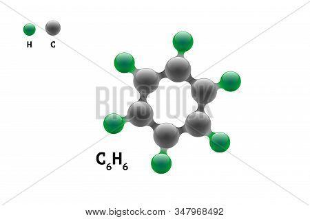 Chemistry Model Molecule Benzene C6h6 Scientific Element Formula. Integrated Particles Natural Inorg