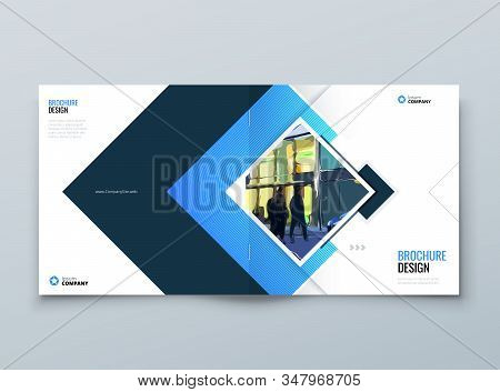 Blue Square Cover Background Design. Corporate Template For Business Annual Report, Catalog, Magazin