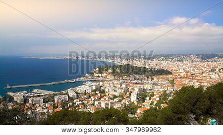 Nice City In France, Travel To Popular Seaside Resort, Amazing Birdeye View