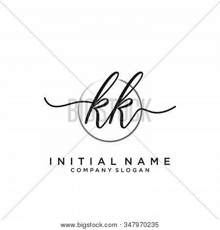 Kk Initial Handwriting Logo With Circle Template Vector.