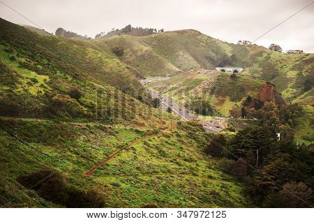 View On Marin Headlands And Road To Sausalito From Golden Gate Bridge, San Francisco, California, Us