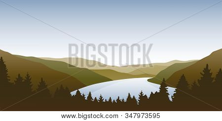 Big River Nature Landscape Outdoor Adventure In Autumn Vector Illustration Eps10