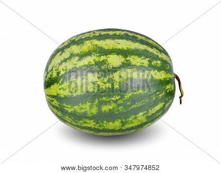 Whole Ripe Watermelon With Stem On White Background