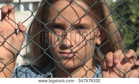 Sad Kid Abandoned, Sick Unhappy Stray Kid Depressed, Child Portrait, Girl Not Playing, Miserable Chi