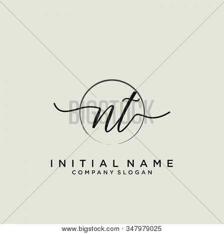 Nt Initial Handwriting Logo With Circle Template Vector.