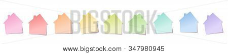 Sticky Notes, House Shaped, Rainbow Colored Line. Isolated Vector Illustration On White Background.
