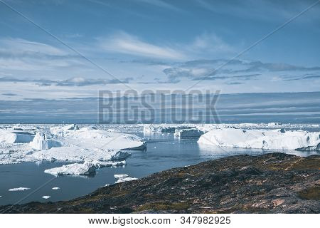 Disko Bay Nearby Of Ilulissat, Greenland. Panoramic Aerial Vew Towards Icefjord With Icebergs And Gl