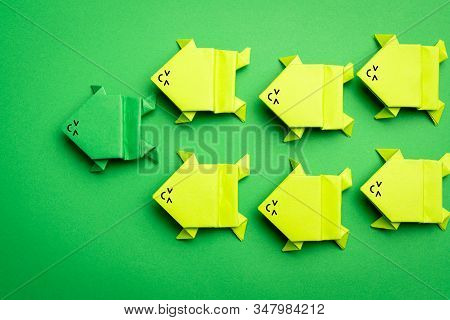Dark Green Frog Leading The Others Light Green Frogs For Leadership Concept