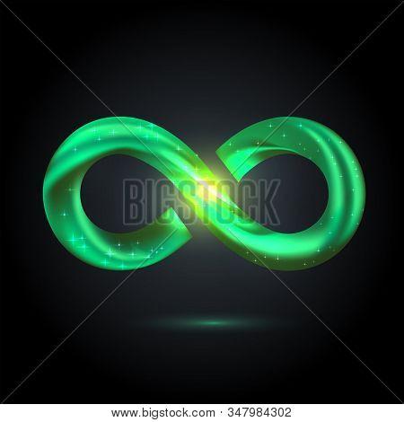Green Fusion Swoosh Line Infinity Symbol. 3d Volume Illustration On Black Background. Sparkle Infini