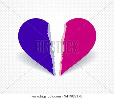 Broken Heart Icon Lonely And Missing Mate Lover Girlfriend, Divorce Breakup And Loneliness Vector Co