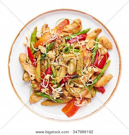 Chicken Chop Suey In White Plate Isolated At White Background. Chop Suey Is American Chinese Cuisine