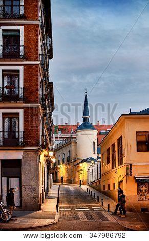 Madrid, Spain - December 12, 2019. Rodas Street Of La Latina Neighborhood With The Tower Of Galerias